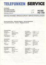 TELEFUNKEN Service Manual Anleitung HS 800 HS 1700  B1544