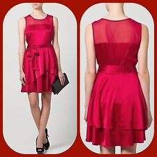 new $395 DKNY red silk fit flare belted crimson mesh Cocktail DRESS 14 XL