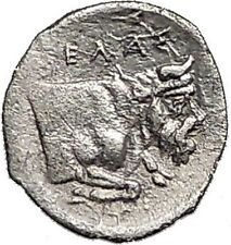 GELA in SICILY 430BC Horseman Man Bull Ancient Silver GREEK RARE R1 Coin i55612