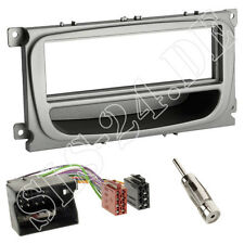 FORD Galaxy C-MAX S-MAX DIN Blende Radioblende+FACH silber ISO Adapterkabel SET