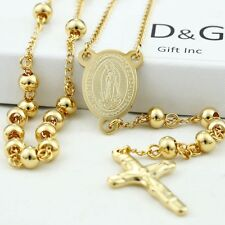 """DG Stainless Steel,Gold;26"""" Beaded Rosary VIRGIN MARY+JESUS CROSS Necklace + BOX"""