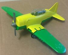Hubley Kiddie Toy Plane WWII Hellcat fighter excellent vintage green yellow USA