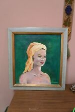 """Vintage Signed Oil Painting 18"""" x 20"""" - 22"""" x 24"""" Framed South Hampton Beauty"""