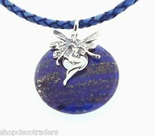 "Lapis Lazuli Necklace A40-12 Leather Braid Cord 22"" Fairy Bail Dreamwork Protect"
