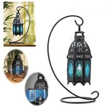 Table Candle Lanterns Holder Hanging Lights Nightlight Lamp Iron Sapphire Decor