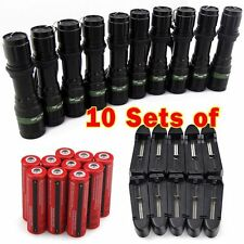 10x Tactical 5000LM Rechargeable T6 LED Flashlight Torch+18650 Battery + Charger
