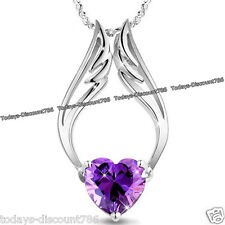 UNIQUE PURPLE HEART CRYSTAL NECKLACE LOVE WIFE WOMEN VALENTINE XMAS GIFT FOR HER