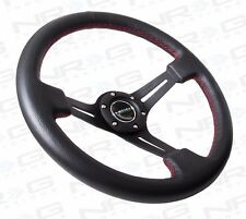 NRG Sport Steering Wheel 18 Black Leather 2 inch Deep Dish 350mm Red Stitching