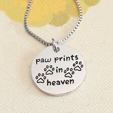 *UK* SILVER PLT CAT / DOG 'PAW PRINTS IN HEAVEN' ENGRAVED NECKLACE PUPPY KITTEN
