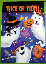 "Large ""Trick or Treat!"" Halloween 3 Ghosts Flag (Porch size: 28"" x 40"") 2 sided"