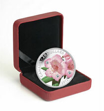 2012 Canada 1 oz Fine Silver Coin Rhododendron with Swarovski Crystal, No Tax