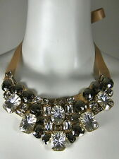 NATASHA Tan Ribbon Collar Necklace With Clear Crystal Stones Beads
