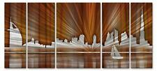 Abstract Metal Modern City Wall Art 5 Panel Set Warm Dubai Skyline 3D Effect