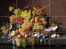 Art Flowers Fruit Grape Wine Mural Tumbled Marble Tile Backsplash #1806