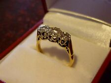 Stunning 18ct Yellow Gold Diamond approx 0.45 tcw Trilogy Ring Size M 1977