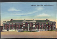 "America Postcard - ""Burlington Route Depot"", Galesburg, Illinois    X507"