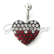 316L Surgical Steel Dangle Belly Button Ring Heart Navel Ring Body Jewelry