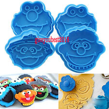 4PC Elmo Cartoon Embosser Cake Decorating Cookie Cutters Fondant Plunger Mould V