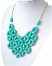 "NEW Turquoise Bubble Bib Resin Statement Necklace Women's 24"" Adjustable Dress"