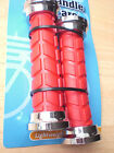 Rubber Handlebar Grips Cycle Bicycle Mountain Bike BMX RED AND SILVER