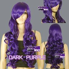 80cm Dark Purple Heat Styleable Curly Long Cosplay Wigs 967_737