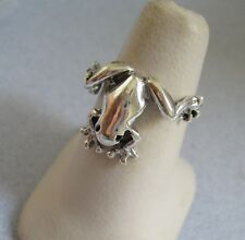 Mexican 925 Silver Taxco Oxidized Good Luck Prince Cute FROG TOAD Ring Size 9