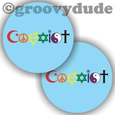 Coexist Gay Pride LGBT Religions God Peace Love Rainbow 2-1/4 Pin Pinback Button