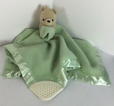 Classic Winnie The Pooh Green Lovey Teether Security Blanket Toy Baby Satin Edge
