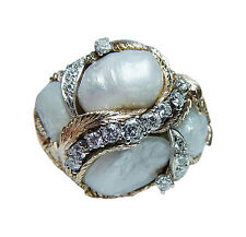 Vintage Giant Diamond Baroque Pearl 14K Gold Ring Heavy 1 ounce Estate Jewelry