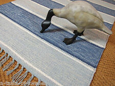 100% Recycled Cotton Dhurrie Rugs in Blues and White 75 x 150 cm Swedish pattern