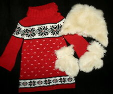 NWOT Baby Gap Red Sweater Dress and Faux Fur Cap Gloves Set Girl Size 2