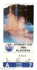 GRETZKY 1985 WORLD CHAMPION EDMONTON OILERS STANLEY CUP SEMIFINALS TICKET STUB