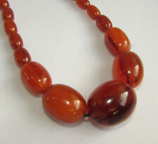 Old vintage Art Deco amber swirl Icetea bakelite bead / necklace 74 grams