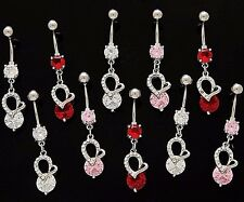 3x CZ Dangle Belly Button Rings Hearts Elegant 14g Wholesale Gem Fancy Navel 878