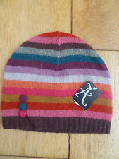 MONSOON ACCESSORIZE WOOL ANGORA BLEND STRIPED BUTTON BEANIE HAT MULTICOLOURED