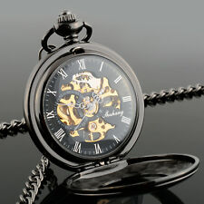 Men's Hollow Steampunk Skeleton Mechanical Analog Quartz Pocket Watch Gift*
