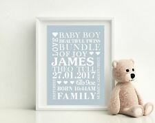 Personalised A4 Glossy Poster Baby BOY  Birth, Nursery, Newborn Print Art Gift
