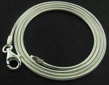 "925 STERLING SILVER 16"" SOLID ROUND SNAKE CHAIN LINK PENDANT NECKLACE CHOKER BOX"