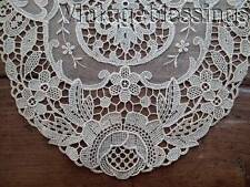 """A PAIR of Antique French Lace Schiffli Oval Doilies 17"""" x 11"""" (ng)"""