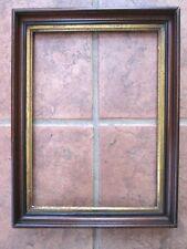 """Vintage Deep WALNUT Wood Picture FRAME,C.1880,Gold LINER,Fits 14x10 3/16""""Artwork"""