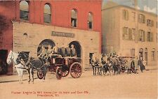 Rhode Island postcard Providence Engine Co 2 Fire House Department street scene