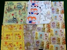 Lot 1 Sheet + Pieces Vintage Gift Wrap Paper Zoo Animals Raggedy Ann Andy Bunny