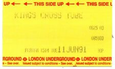 RAILWAY PLATFORM TICKET. 1991 LONDON UNDERGROUND. UTS 30P. KINGS CROSS TUBE 03