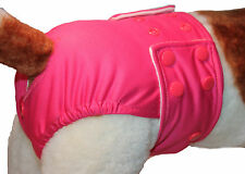 SIZE SMALL Waterproof Female Dog Pants / Nappy - Poppers & Washable Pads /Cerise