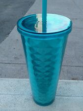 Starbucks Summer Collection Acrylic Geometric Cold Cup Turquoise Blue 24oz Venti