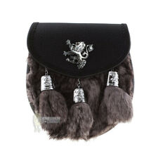 HALF-DRESS SPORRAN & STRAP - LION W/TASSELS - GREY RABBIT FUR & CHROME