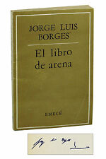 El libro de arena ~ SIGNED by JORGE LUIS BORGES ~ 1975 ~ The Book of Sand 1st