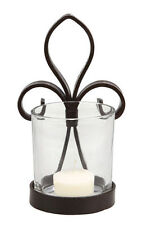 """French Fleur-de-Lis Wrought Iron /glass Candle Holder~6-1/4""""~Wall or Table"""