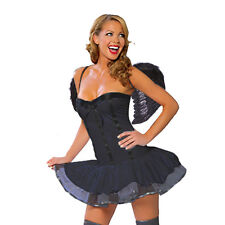 3 Piece Dark Angel Costume Faux Leather Trim Frilly Dress Wings & Thong Size 10