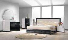 LUXOR - MODERN QUEEN SIZE GREY / BLACK W LED LIGHT BEDROOM SET 5PC